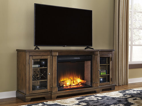 Flynnter Medium Brown XL TV Stand with Fireplace