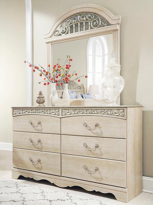 Catalina Antique White Dresser & Mirror