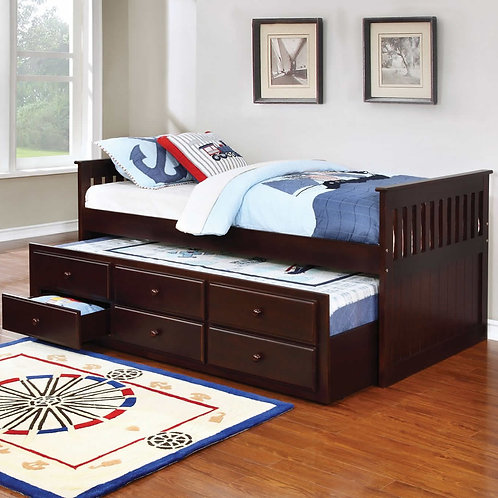 La Salle Cappuccino Daybed w/Trundle & Drawers