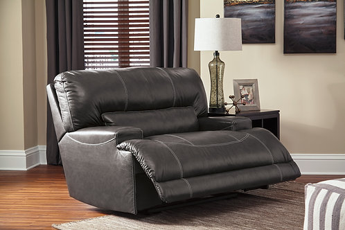 """McCaskill Gray Leather 55"""" Wide-Seat Recliner"""