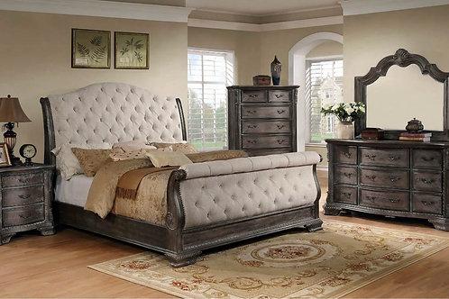 Sheffield Sleigh Gray Upholstered Bedroom Set