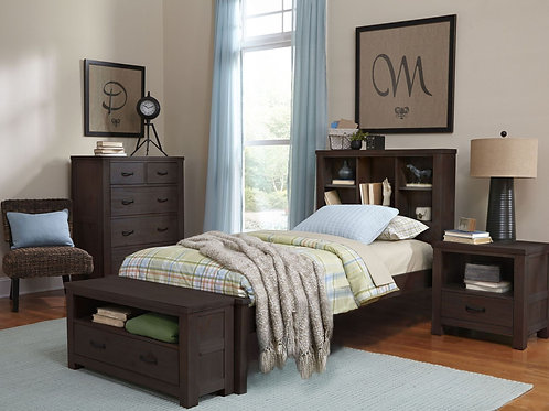 Highlands Twin Espresso Bookcase Bed