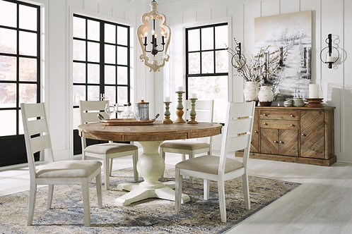 Grindleburg Two-Tone Round Table & 4 White Chairs