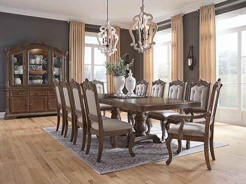 Charmond Brown Dining Table with 8 Side Chairs & 2 Arm Chairs