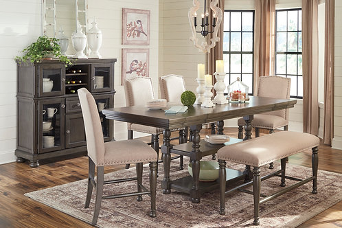 Audberry Dining Table, 4 Stools, & Bench