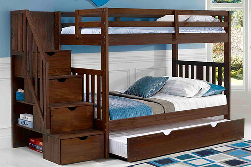 Cambridge Chestnut Twin/Twin Staircase Bunk Bed