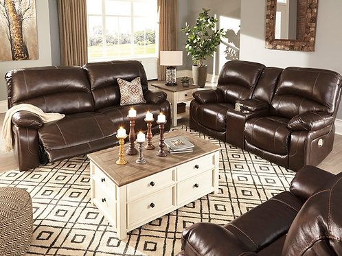 Hallstrung Chocolate Top Grain Reclining Sofa & Loveseat