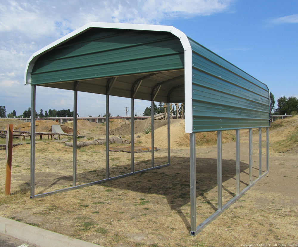 Partly enclosed carport