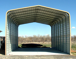 Partly enclosed carport