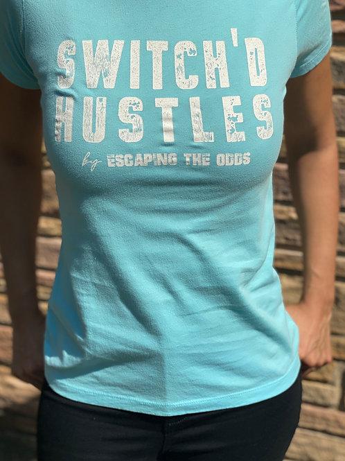 Women's Teal/Aqua Switch'd Hustles Short Sleeved Fitted T-Shirt