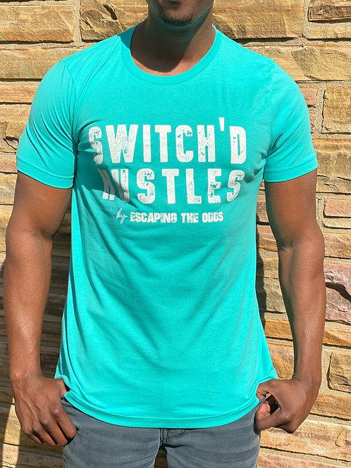 Teal/Aqua Switch'd Hustles Short Sleeved Fitted T-Shirt