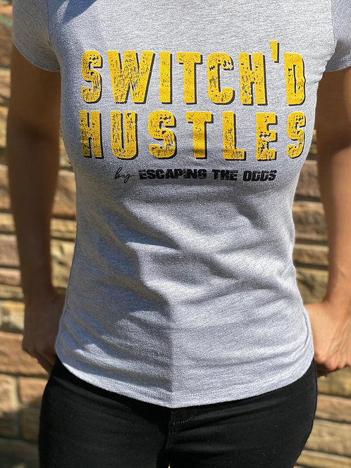 Women's Grey Switch'd Hustles Short Sleeved Fitted T-Shirt