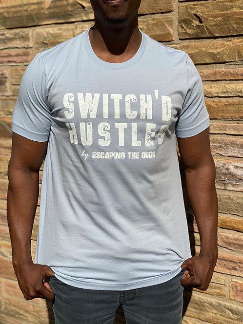 Light Blue Switch'd Hustles Short Sleeved Fitted T-Shirt