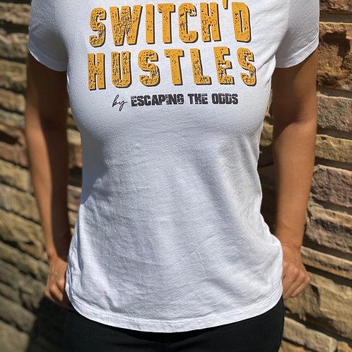 Women's White Switch'd Hustles Short Sleeved Fitted T-Shirt