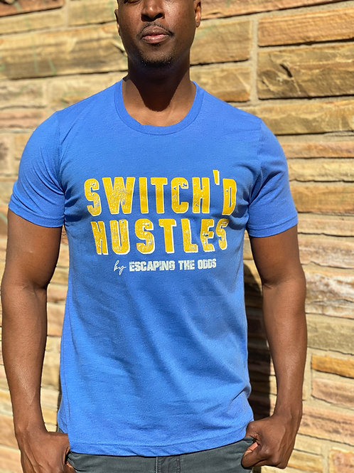 Royal Blue & Gold Switch'd Hustles Short Sleeved Fitted T-Shirt