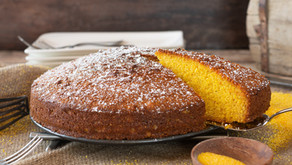 Lemon Polenta & Almond Cake with Peach Sauce