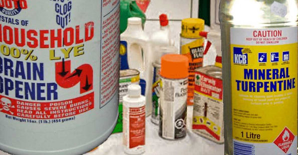 Display of hazardous toxic chemicals lurking in your house.