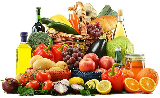 Display of healthy whole food, fruits and vegetables.
