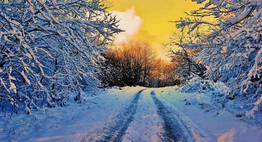 Snowy winter road scene
