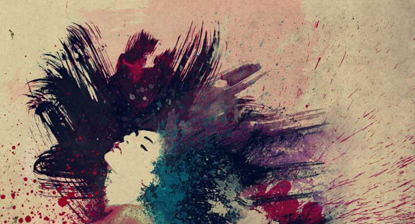 Abstract of woman with wild hair