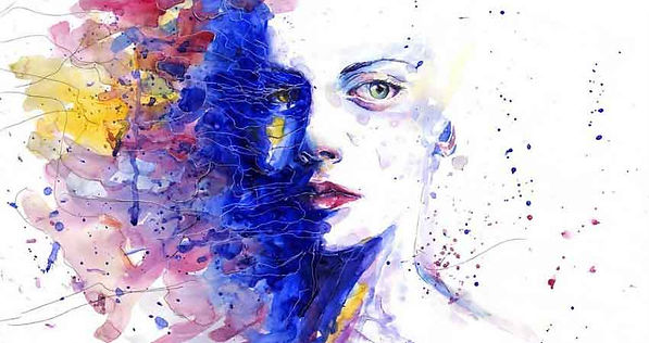 A beautiful woman looking in wonder, art work is many colors, Free Your Mind.