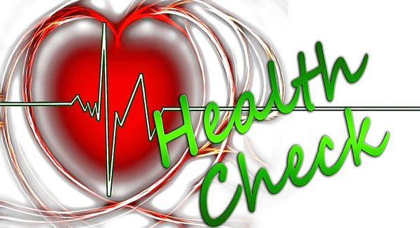 Heart beat and heart with health check across image.