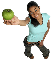 Healthy mom holding a apple.