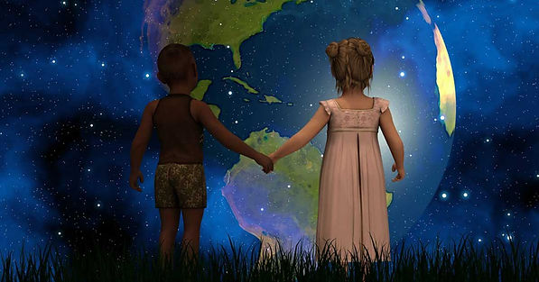 Kids holding hands looking at the world in the universe, Matrix?
