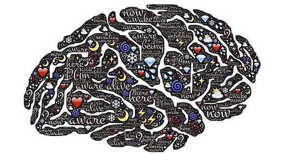 Image of the brain with words like, be aware, alive, be here, etc.