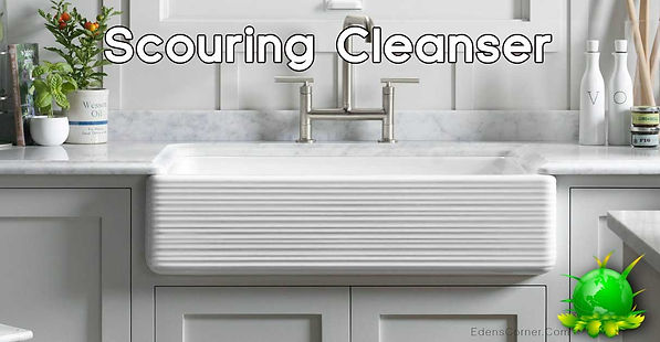 Clean and sparkling sink with scouring cleanser across the top as a title.