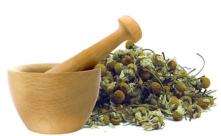 Mortar and Chamomile dried buds