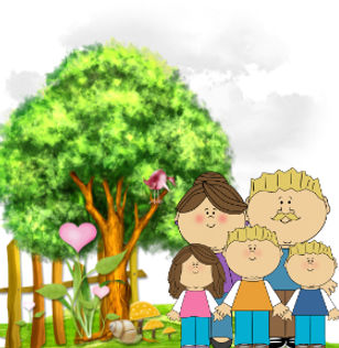 Parents standing with kids with the clouds, flowers, trees in background.