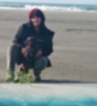 Reni and Scampy on the beach.