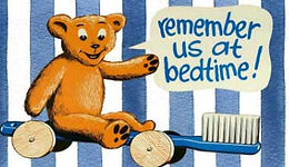 Teddy bear cartoon promoting toothpaste. Is Toothpaste Harming Your Child.