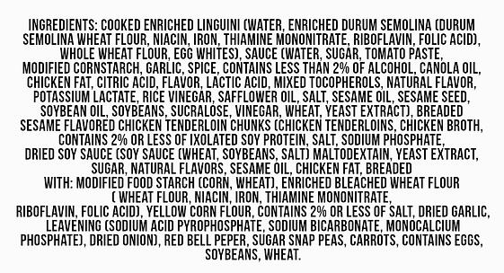 Ingredients on a package of food, 70 plus ingredients listed.