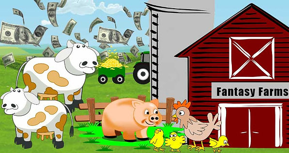 Fantasy Farm with cute animals and money flying everywhere.