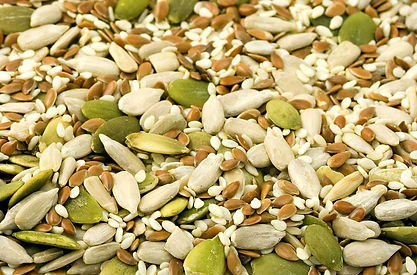 Mixture of nuts and seeds.