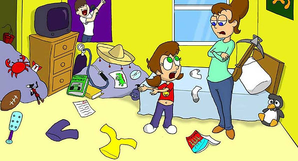 Little girl and Mom standing in a messy bedroom. Its Clean Up Time Cartoon.