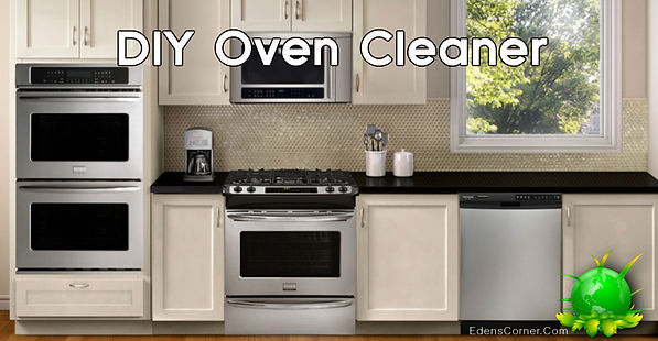 Kitchen with two ovens with the name DIY Oven Cleaner.
