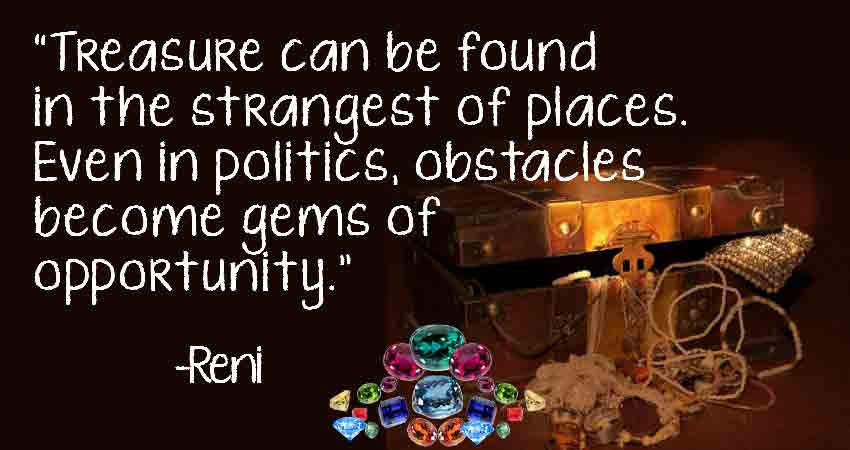 Politics- Diamond in the Rough with treasure chest