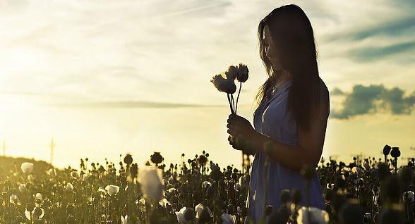 Woman in a field of flower