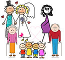 Grandparents, newlyweds, pregnant women and kids with love in hearts.