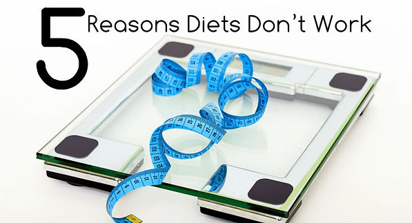 Bathroom scale with the words, 5 Reasons Diets Don't Work.