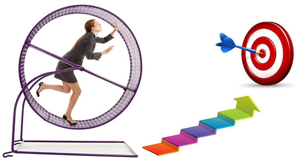 Woman in hamster wheel trying to move towards her goal. Working More, Getting Less.jpg