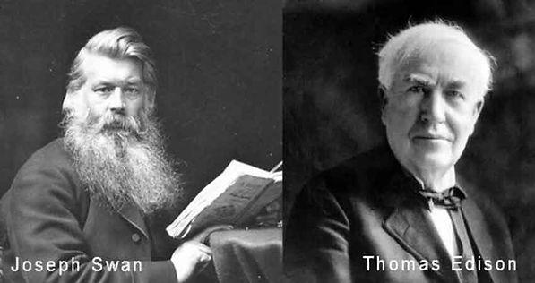 Joseph Swan and Thomas Edison inventors of the light bulb.