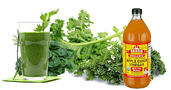Green Vegetables plus a green drink, Bragg's Apple Cider Vinegar.