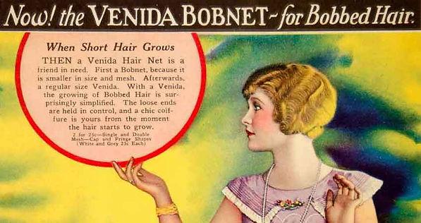 Venida Bobnet advertisement for hair nets with Miss Laura La Plante.