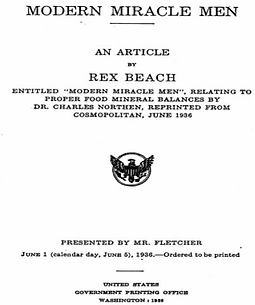 Article by Rex Beach, Presented by Mr. Fletcher to the senate.