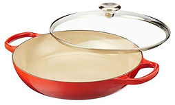 Le Creuset iron cookware and lid.