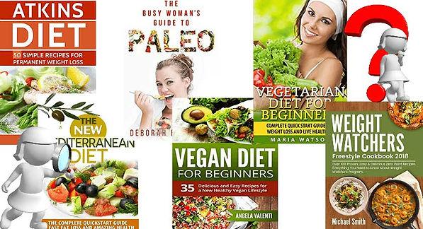 Assortment of diet books.